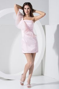 Baby Pink One-Shoulder Mini-Length Graduation Dress with Flounce Lace in Falkirk