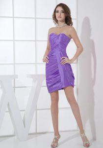 Purple Sweetheart Mini-Length Strapless Graduation Dress with Ruching in Alloa