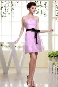 Mini-Length Pink Spaghetti Straps Ruched Graduation Dress with Black Belt