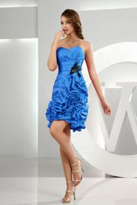 Royal Blue Sweetheart Short-Length Ruched Graduation Dress with Appliques and Rosettes