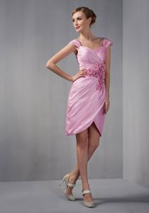 Sweetheart Cap Sleeves Short-Length Ruched Pink Graduation Dress with Rosettes