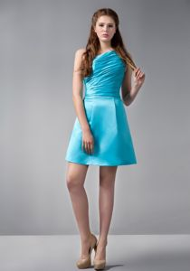 Simple Aqua Blue Mini-Length One-Shoulder Graduation Dress with Ruching