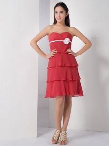 Sweetheart Coral Knee-Length Layered Graduation Dress with White Belt and Flower