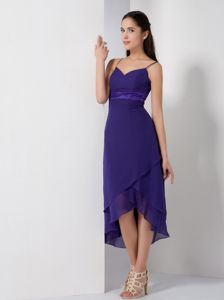 Sweetheart Spaghetti Straps High-Low Purple Graduation Dress with Satin Belt