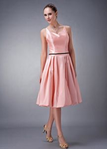 Peach Knee-Length Straps Graduation Dress for Grade 8 with Slender Black Belt