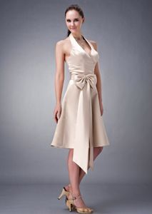 Halter Champagne Knee-Length Graduation Dress with Vig Bowknot in Melrose