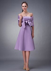 Lavender Knee-Length Simple 8th Grade Graduation Dress with Detachable Wraps