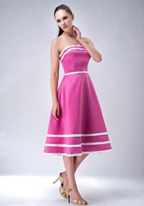 Strapless Pink Tea-Length Graduation Dress with White Ribbons in Jedburgh