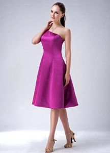 A-Line One-Shoulder Knee-Length Purple 8th Grade Graduation Dress with Zipper