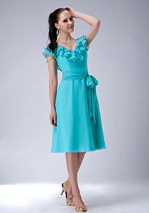 Aqua Blue V-Neck Tea-Length Flounced Graduation Dress with Belt in Galashiels