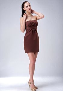 Simple Chocolate Strapless Mini-Length Ruched Graduation Dress for Grade Eight