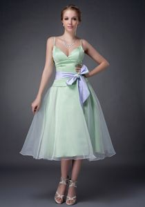 Light Green Spaghetti Straps Tea-Length Graduation Dress with Lavender Belt