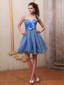 Sweetheart Strapless Blue Beaded Short-Length Graduation Dress with Flower and Ruffles