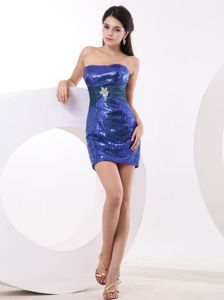 Mini-Length Strapless Royal Blue Sequin Graduation Dress with Belt and Appliques
