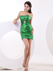 Strapless Mini-Length Spring Green Sequin Graduation Dress with Belt and Appliques
