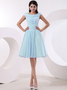 Baby Blue Bateau Knee-Length Ruched A-Line Graduation Dress for Grade 8 in Hawick