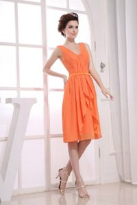 Ruching School Autumn Party Dress for 2013 V-neck Orange Knee-length from Lansing