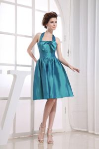 Halter Neckline Teal Bowknot Knee-length for School Summer Party Dress from Lincoln