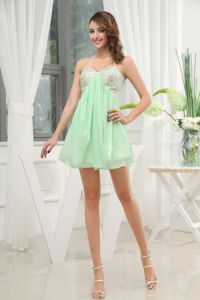Mini-length Sequins Apple Green Sweetheart School Autumn Party Dress from Lincoln