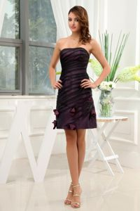 Dark Purple School Anniversary Party Dress Hand Made Flowers Mini-length in Louisiana