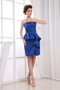 Ruching Royal Blue for School Anniversary Party Dress with Mini-length from Baton Rouge