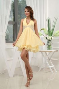 Halter Yellow School Spring Party Dress with Appliques Mini-length Chiffon in Lansing
