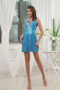 Blue School Anniversary Party Dress with V-neck Sequin Mini-length for Club in Lincoln
