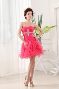 Beading Ruching Decorate Hot Pink School Winter Party Dress Ruffled Layers in Louisiana