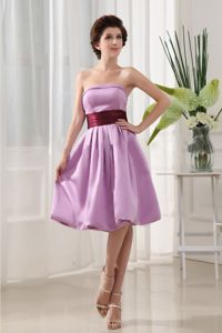 Sashes/Ribbons Simple Lavender Strapless A-Line School Winter Party Dress from Pierre