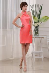 Halter Column Mini-length Taffeta School Anniversary Party Dress Coral Red in Virginia