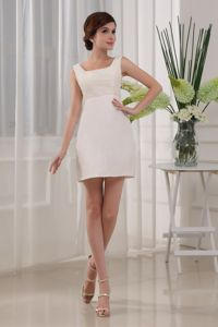 Beading Square Column Satin Mini-length White School Autumn Party Dress from Madison