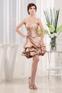 Sweetheart Champagne Mini-length Modest Prom School Spring Party Dress from Virginia
