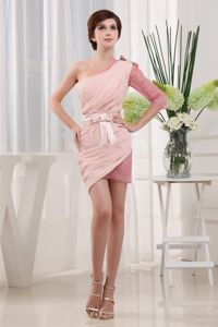 One Shoulder Mini-length Popular Baby Pink School Anniversary Party Dress in Trenton