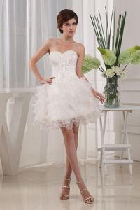 Custom Made Ball Gown White School Autumn Party Dress with Sweetheart in Frankfort