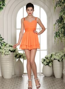 Straps Orange Mini-length Sweetheart for School Anniversary Party Dress in Trenton