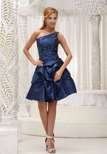 One Shoulder Modest Navy Blue Ruching School Anniversary Party Dress from Austin