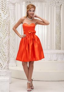Orange Red School Summer Party Dress Bowknot Taffeta Beaded Decorate in Madison
