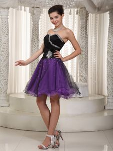 Beaded Purple and Black A-line School Autumn Party Dress for Custom Made in Pierre