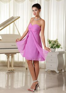 Lavender Sweetheart Ruched Bodice Chiffon School Autumn Party Dress form Alaska