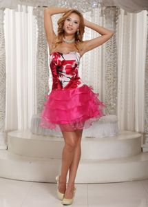 School Summer Party Dress with Printing Decorate Bust Ruched Layers form Boise