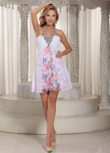 Printing White Chiffon Beaded Decorate Halter School Winter Party Dress form Alaska