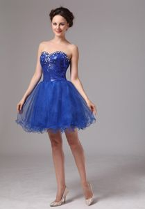 Royal Blue Sweetheart Beaded Mini-length School Autumn Party Dress in Providence
