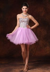 School Summer Party Dress Lavender Beaded Short A-line Tulle Backless form Alaska