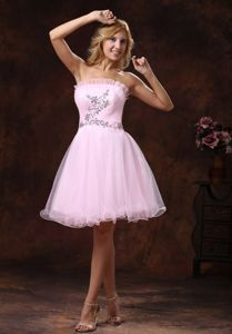 Beading Organza Strapless Baby Pink for School Anniversary Party Dress in Augusta