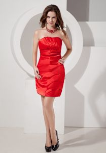 Strapless Taffeta Luxurious Red Column School Winter Party Dress Ruching form Denver