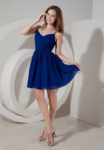 A-line Blue Spaghetti Straps Chiffon Ruching School Anniversary Party Dress form Iowa