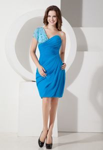 One Shoulder Sky Blue School Autumn Party Dress Ruching and Beading form St. Paul