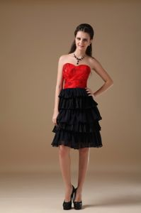 Black and Red School Summer Party Dress Chiffon and Taffeta Beading in Providence