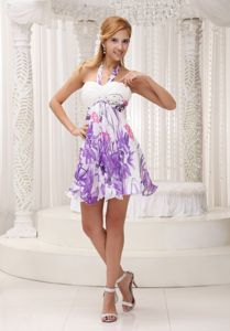 Halter Printing School Winter Party Dress Ruched Decorate Bust Colorful form Denver