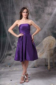 Customize Eggplant Purple School Autumn Party Dress A-line Strapless in Montgomery